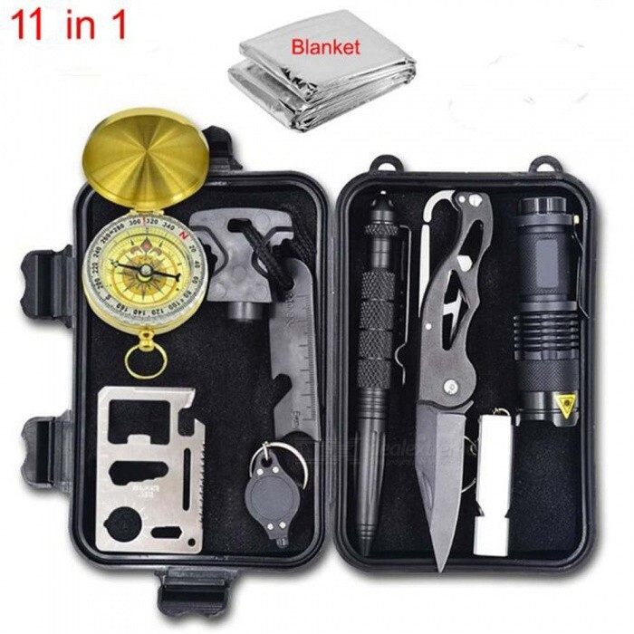 ESAMACT Emergency Survival Gear Multi Tool First Aid Kit Outdoor Camping SOS Survival Tool Kit Whistle Flashlight Knife