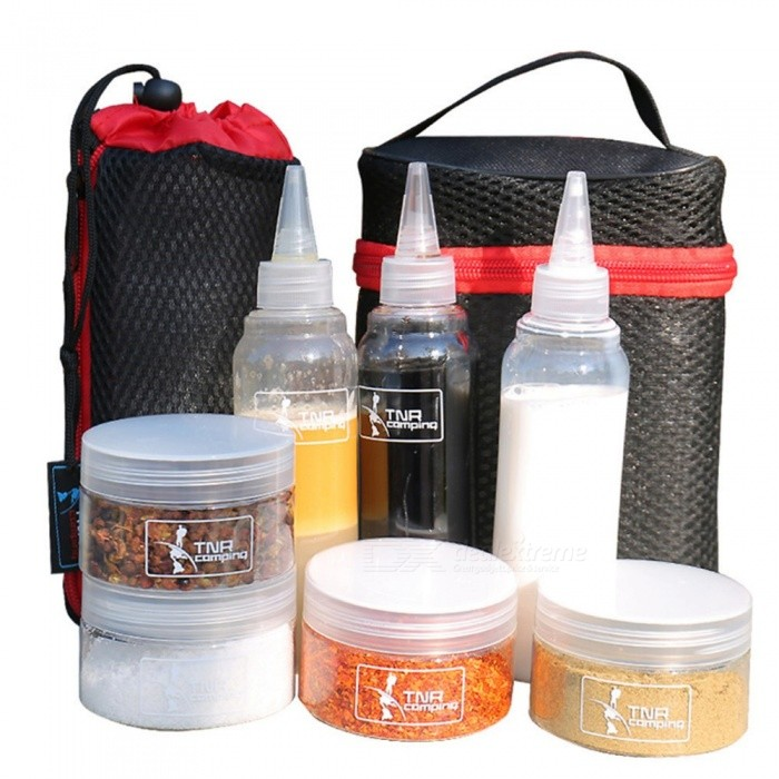 Outdoor Cookware Set Seasoning Cans Condiment Bottles Camping BBQ Picnic Spice Jars Travel Tableware Black