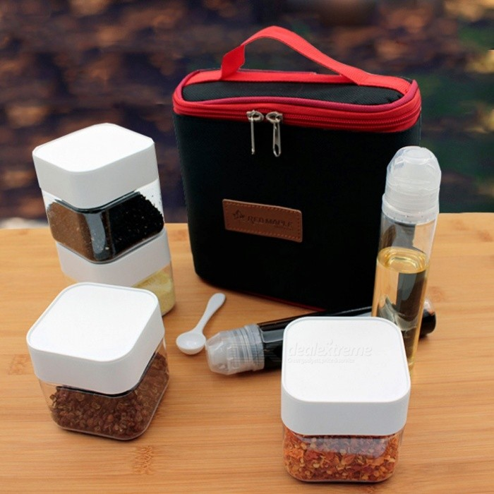 Outdoor Camping BBQ Spice Jars Condiment Storage Bottles Seasoning Box With Hand Bag Fishing Travel Picnic Tableware Black