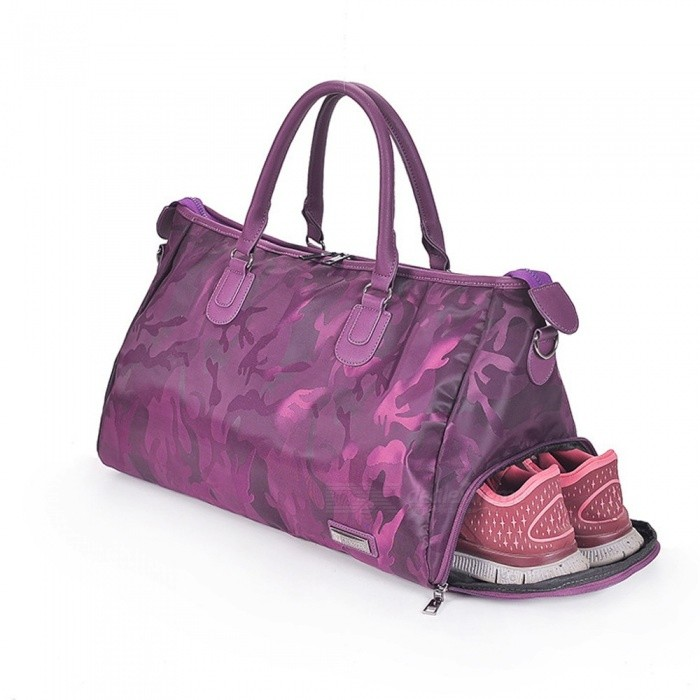 Camouflage Large Capacity Gym Handbags Sport Bag With Shoes Storage Bags Purple