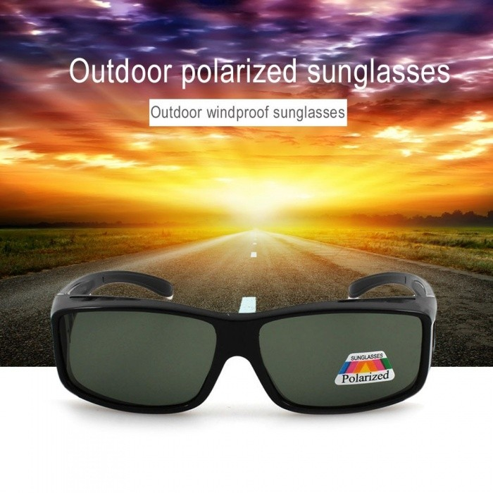 Outdoor Dual Use Polarized Sunglasses, Windproof Cycling Eyewear Sun Glasses For Women Men Black