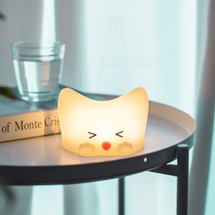 Rechargeable | Silicone | Control | Change | Color | Table | Light | Gift | Desk | Lamp | USB | Cat