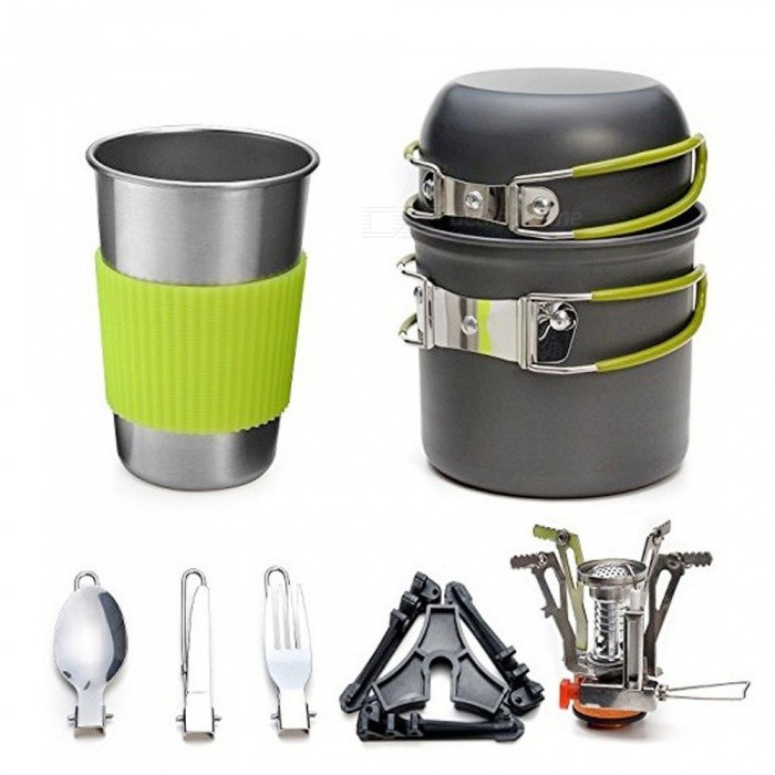 Portable Outdoor Cookware Set, Camping Hiking Picnic Cooking Utensil Stove Pot Bowl Kit For 1-2 People Dark Grey