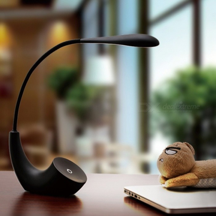 Portable USB Rechargeable Book Reading Lamp, Simple Eye Protection LED Table Desk Lamp For Bedroom Side Black/0-5W