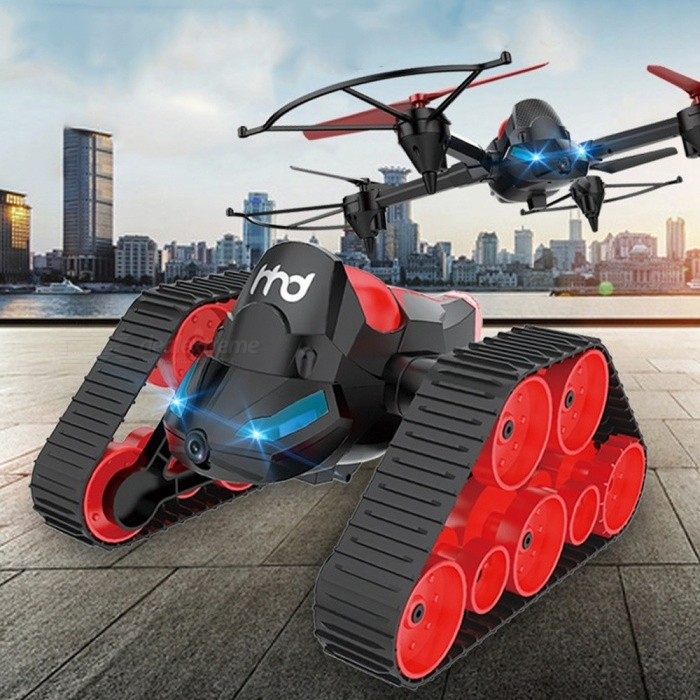 RC Video Tank Bounce Car, Wi-Fi FPV DIY 3-in-1 Headless Model Deformation Aerial RC Drone Tank Jumping Car Toy Black