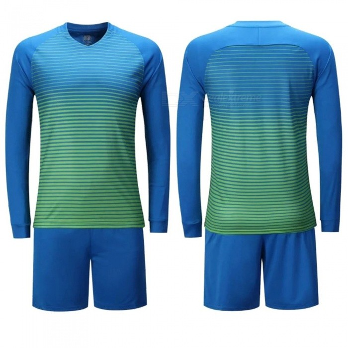 Men Football Goalkeeper College Jerseys Soccer Tracksuit Uniforms Clothes Suit Training Clothing Pants Set Sky Blue/M