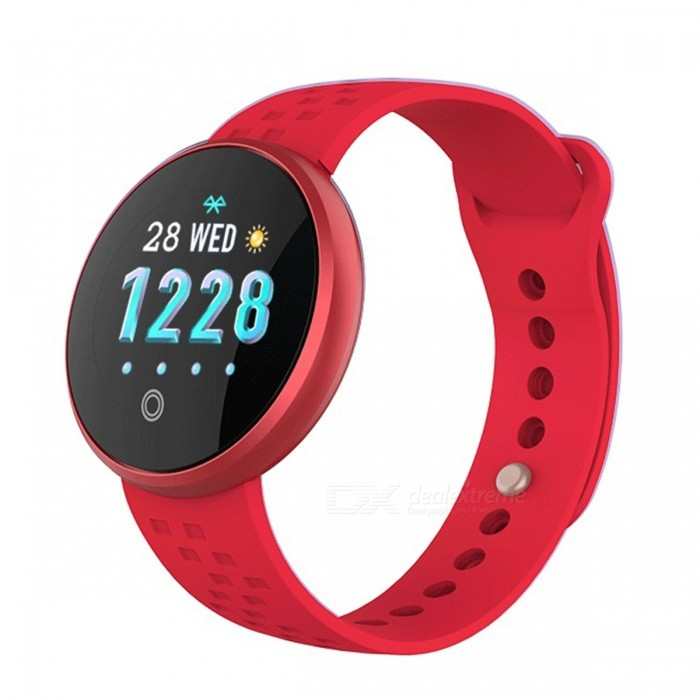 DMDG Fashion Ladies Smart Watch Bracelet Fitness Pedometer Calorie Sport Watch Physiological Cycle Remind for Android IOS-Red