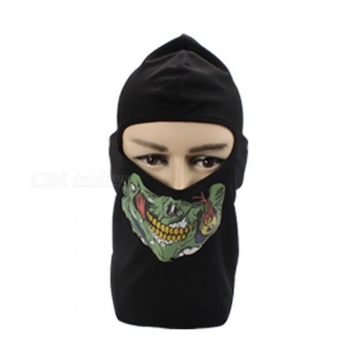 Windproof Cycling Full Face Mask Balaclava, Skull Headgear Sports Bike Bicycle Riding Hat Head Scarf White/One Size