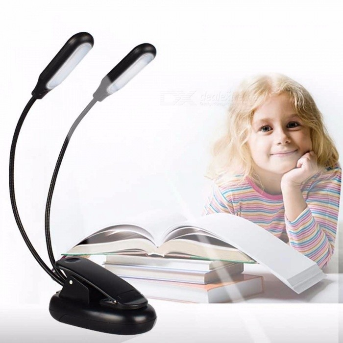 Folding Adjustable Double Head Clip Table Lamp, Battery Powered 10-LED Desk Light For Book Reading (No Cable) White/Black