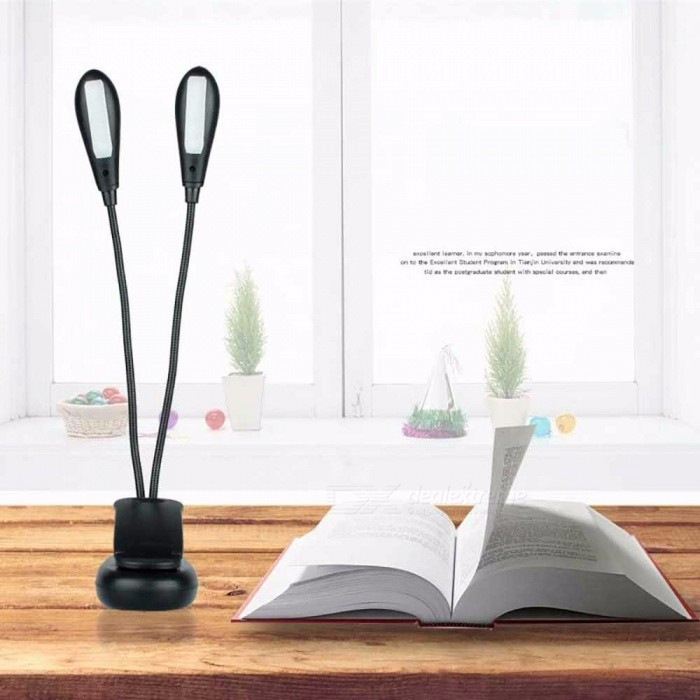 Creative Folding Double Head Clip Table Lamp, Adjustable 10-LED Desk Light For Book Reading (No USB Cable) White/Black