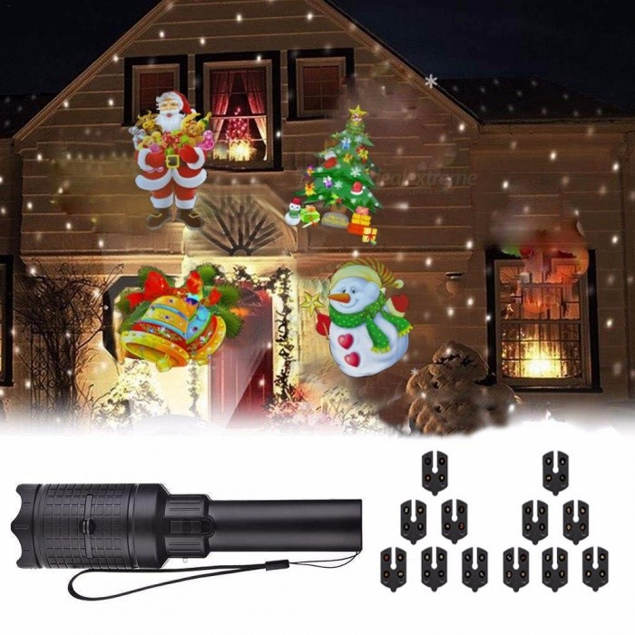 Portable Flashlight Shape Projection LED Lamp For Christmas Holiday Home Garden Decoration RGB/0-5W