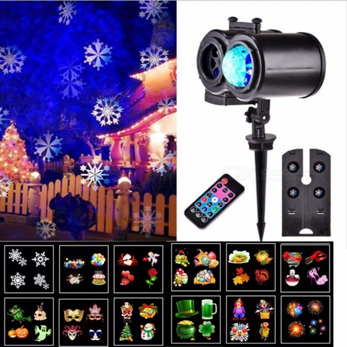 Portable Remote Control Projection LED Lamp For Christmas Halloween Home Garden Decoration - US Plug RGB/11-15W