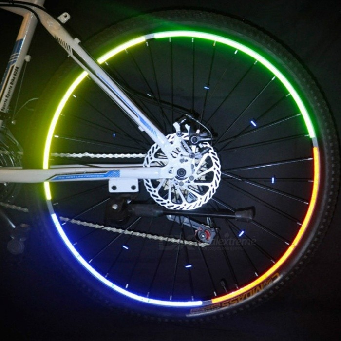 Fluorescent Bike Bicycle Cycling Motorcycle Wheel Tire Tyre Reflective Sticker Strip Decal Tape For 26 Inches Tire Yellow