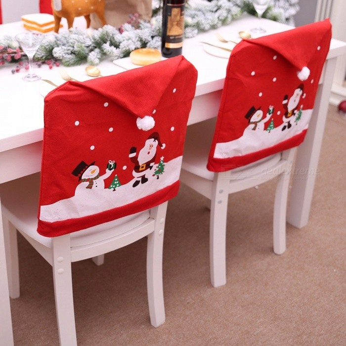 Christmas Non-woven Chair Cover Red Hat Chair Back Cover Xmas Decoration For Home Party Red/50x65cm