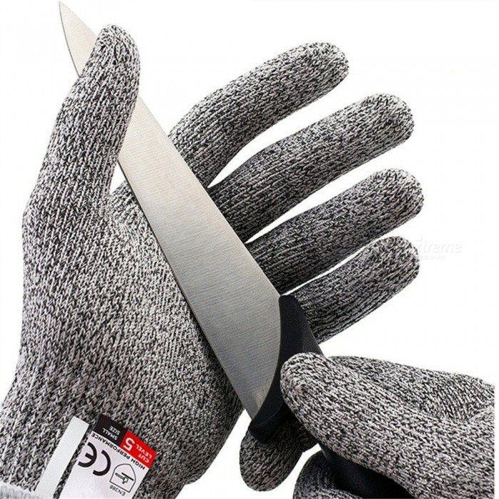 1 Pair Cut Resistant Gloves Level 5 Protection Working Safety Food Grade Stainless Steel Wire Cut Metal Anti-cutting Gray/S