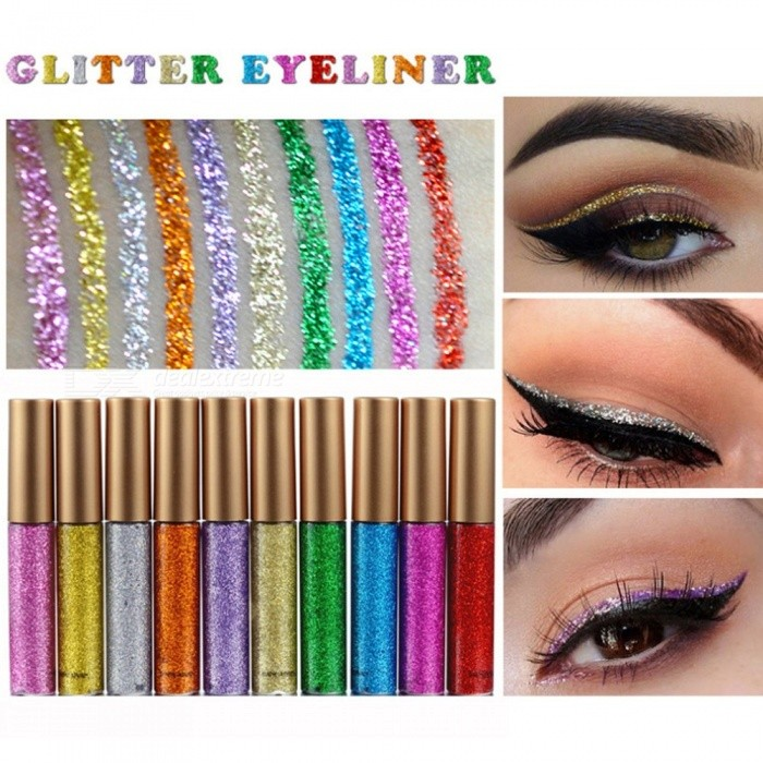 Shine Glitter Eye Shadow Liner Liquid Long-lasting Shimmery Eye Makeup Quickly Dry Shiny Eyeliner Daily Cosmetics Orange