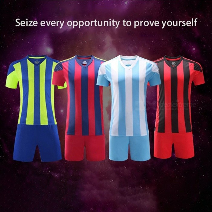 New Men\'s Adult Football Clothes Light Board Jersey Shorts Sport Soccer  Sets Red/XL