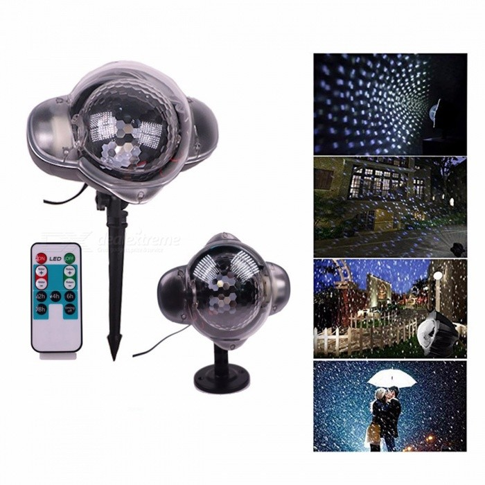 Mini LED Snowfall Outdoor Projection Lamp Remote Control Christmas Decoration Light With Snowflake Pattern EU Plug RGB/0-5W