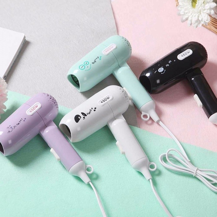 Buy Mini Portable 450W Hair Dryer With 2 Speed Settings Energy-efficient Folding Blow Dryer For Home Chinese Plug White with Litecoins with Free Shipping on Gipsybee.com