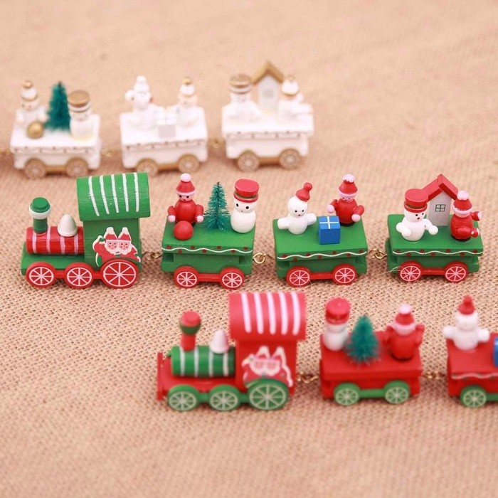 Wood Christmas Xmas Train Decoration Gift Mini Wooden Train Model Vehicle Toys For Children Red