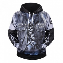 Autumn Winter Casual Hooded Hoodies 3D Print Fake Two Pieces Loose Sweatshirts For Men Black/M