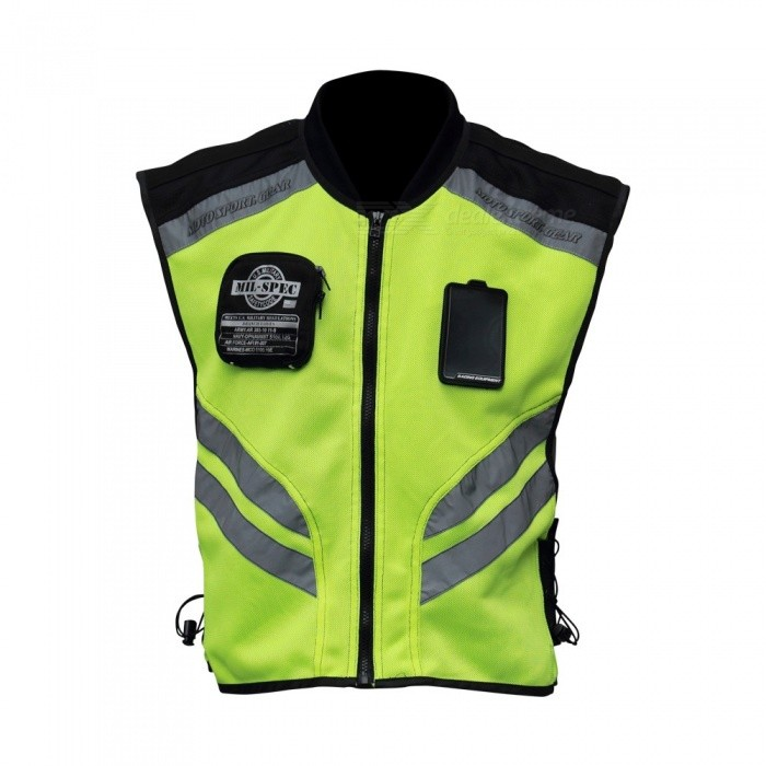 Riding Tribe Motorcycle Reflective Vest Motorbike Safety Clothes Moto Warning High Visibility Jacket Waistcoat Uniform Green
