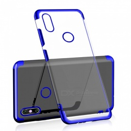 Transparent Slim Electroplate Plating TPU Back Case for Xiaomi Redmi Note 6 Pro - Blue
