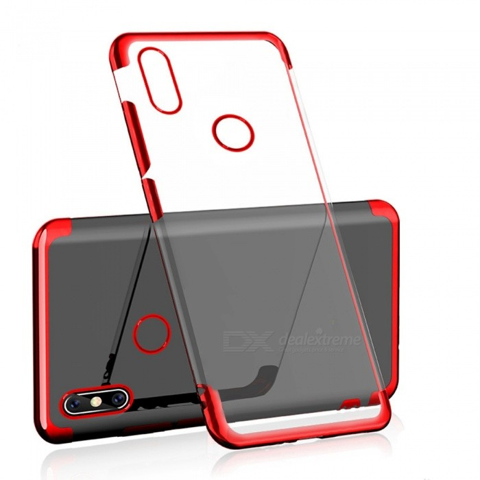 huge selection of 7dbc9 a99de Transparent Slim Electroplate Plating TPU Back Case for Xiaomi Redmi Note 6  Pro - Red