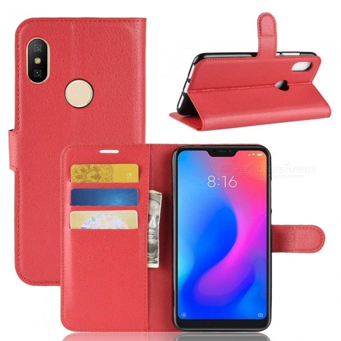 PU Leather Full Cover Wallet Phone Case for Xiaomi Redmi Note 6 Pro - Red