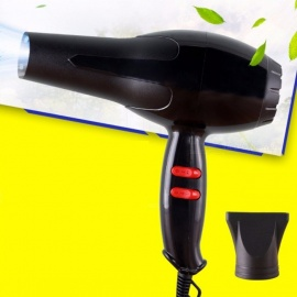 1800W Pro Salon Blow Dryer W/Air Collecting Nozzle Powerful Household Low Noise Hair Dryer CN Plug Black