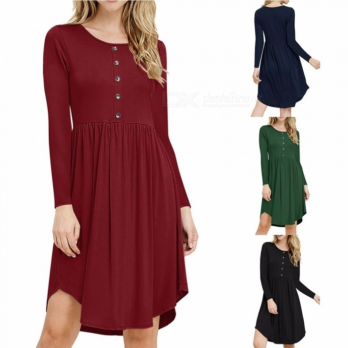 WQ033 Casual Loose-Fitting Round Neck Dress For Women, Womens Flowing Long-Sleeved Dress With Front Button Closure Black/S