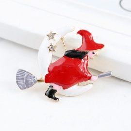 Cute Flight Witch Moon Broom Alloy Dripping Oil Brooch Pin, Funny Magical Christmas Gift Scarf Clips Red