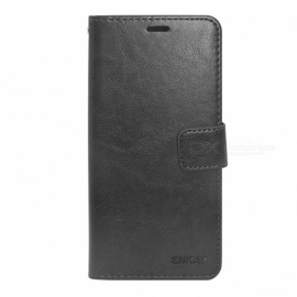 ENKAY Protective PU Leather Case w/ Card Slots and Stand Function for iPhone XR - Black