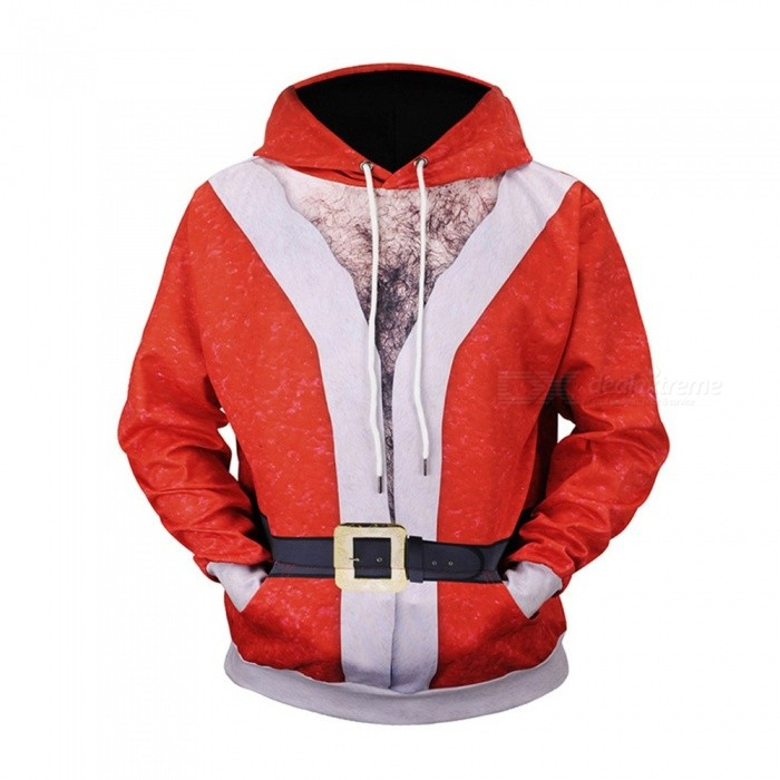 Christmas Autumn Winter Casual Hooded Hoodies 3D Print Santa Claus Jacket Loose Sweatshirts For Men L61003# Red/M