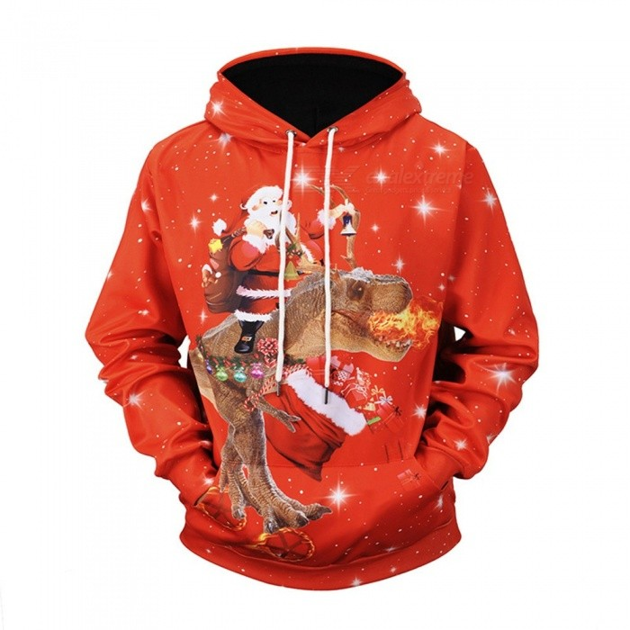 Christmas Autumn Winter Casual Hooded Hoodies Red 3D Print Santa Claus Dinosaur Loose Sweatshirts For Men Red/M