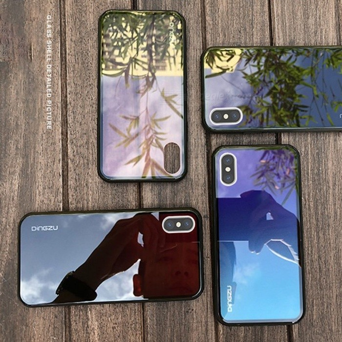 Mobile Phone Case Gradient Color Glass Semi-transparent Anti Drop Cases For IPhone XR/XS Max Blue/IPHONE XR