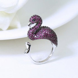 Fashion-Jewelry-Metal-Animal-Flamingo-Zircon-Rings-Temperament-Adjustable-Party-Ring-For-Women-ResizablePurple