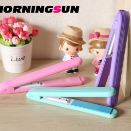 Electric Splint Hair Mini Straightener Rechargeable Fruit Color Roll Dry Wet Dual-use Straight Clip Random Color