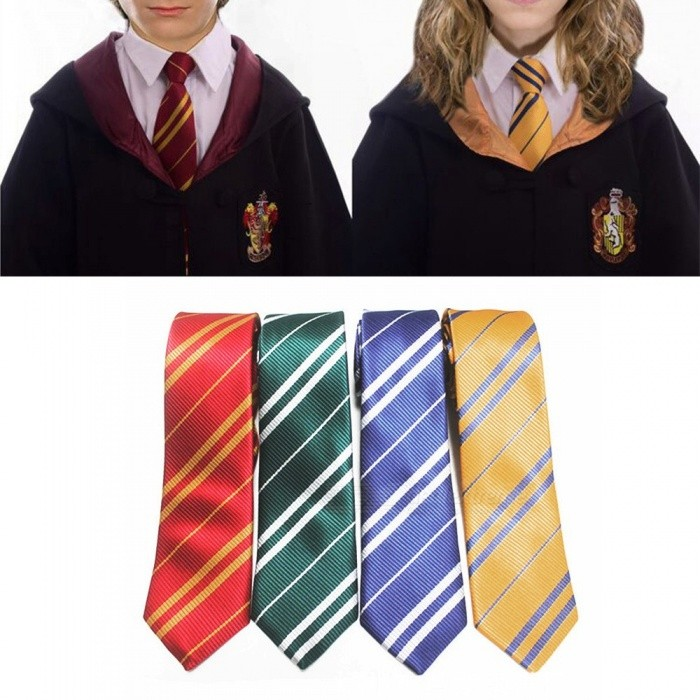 Polyester Harry Potter Badge Diagonal Stripe Tie For Boys Girls, Narrow Slim Skinny Necktie For Students Green