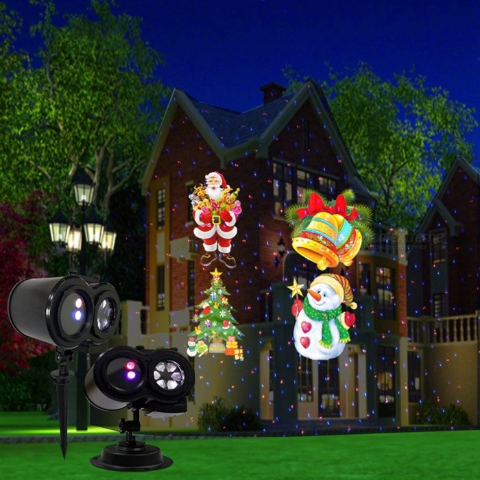 Laser Pour Noel Christmas Star Pattern Red Blue Laser Projection Light, Lawn Lamp