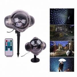 Outdoor Waterproof Snowflake Light, Laser Projection Snow Light W/ Remote Control For Christmas Holiday Decor - UK Plug RGB/0-5W