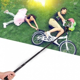 Aluminum Alloy Telescopic Selfie Stick, Self-Timer Rod For Gopro Action Camera Black