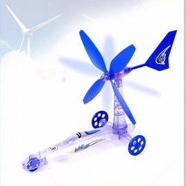 Children\'s Educational DIY Wind Energy Power Car, Scientific Experiment Toy, Science Teaching Toy For Kids Blue