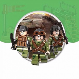 9-Piece Army Military Dolls Small Particle Building Blocks DIY Assembly Toy Kit For Children Kids Green
