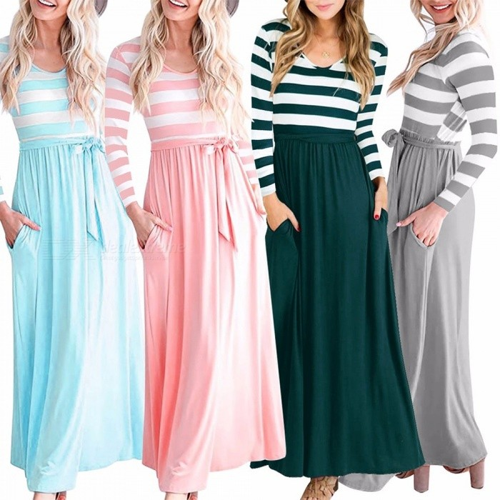 AM222 Womens Casual Long Slim Fit Striped Dress With Belt, Round Neck High-rise Long Sleeve Dress For Women Light Blue/S