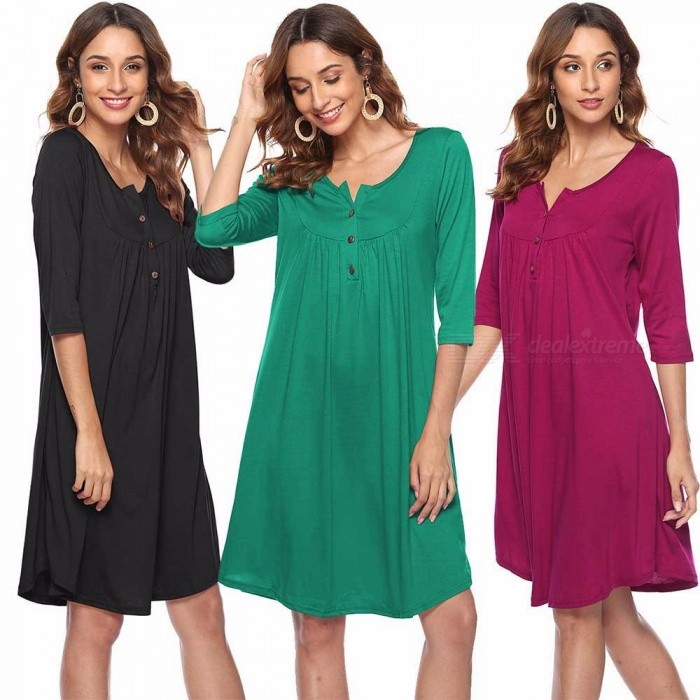 WQ005 Womens Casual Loose Fit Buttoned Dress With Ruffles, Round Neck Draped Dress With Elbow-length Sleeves Black/S