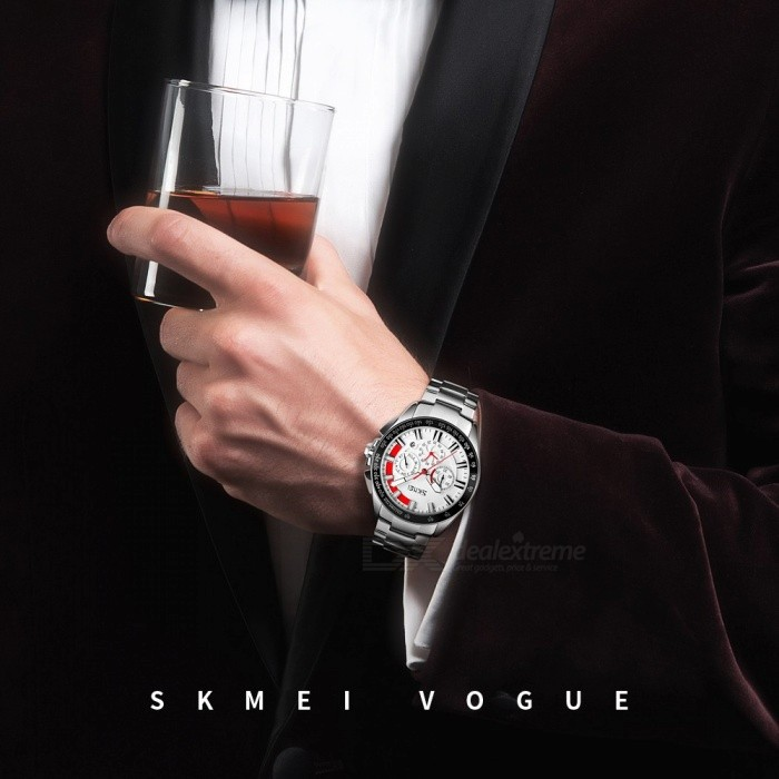 SKMEI Waterproof Round Dial Quartz Wristwatch, Men's Watch With 3 Sub-dials, Stainless Steel Band White