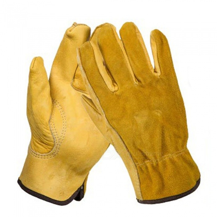 OZERO Cowhide Leather Men Working Welding Gloves, Safety Protective Garden Sports MOTO Wear-resisting Gloves (1 Pair) Yellow/M