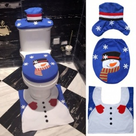 JEDX Creative Christmas Decorative 3-Piece Toilet Seat Cover Set