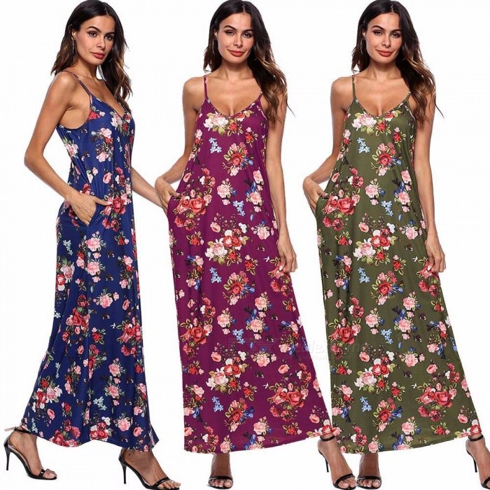 AM202 Womens Causal Long Printed Strappy Dress, V-neck Sleeveless Floral Dress For Women Blue/S